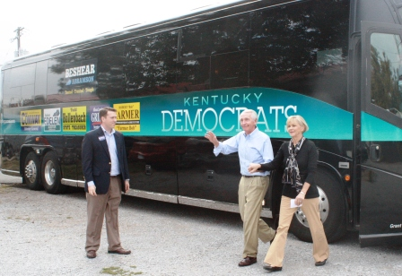 Governor and Mrs. Beshear getting off the bus at the Sr. Citizen Center in Clinton